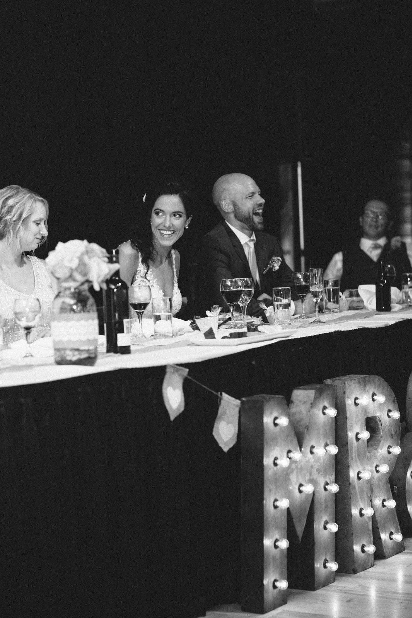 Head table joy - Photo credit Heart & Sparrow Photography