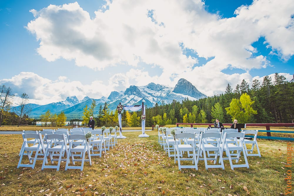 Outdoor wedding ceremony at the Canmore Nordic Centre Provincial Park's Cross Country Stadium